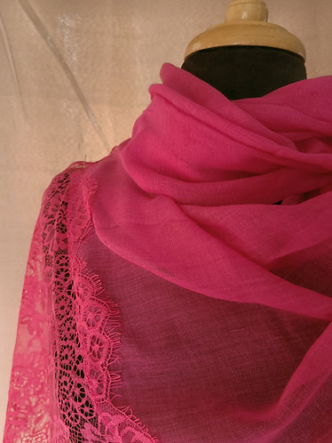 Hot pink Lace Viscose Hijab