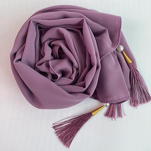 Lilac Tassle Georgette Hijab