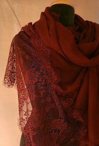 Burgundy Lace Viscose Hijab