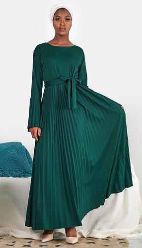 Emerald Green Pleated Dress