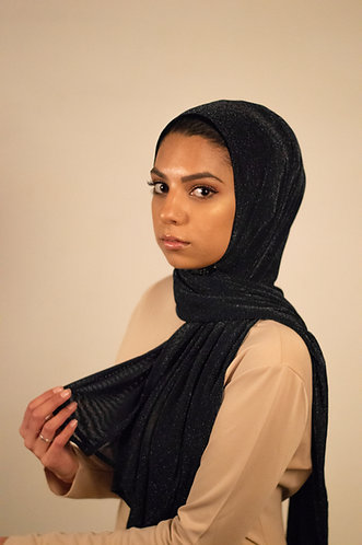 Black Chainmail Stretchy Hijab