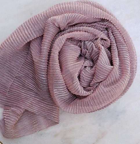 Pink Shimmer Pleated Hijab