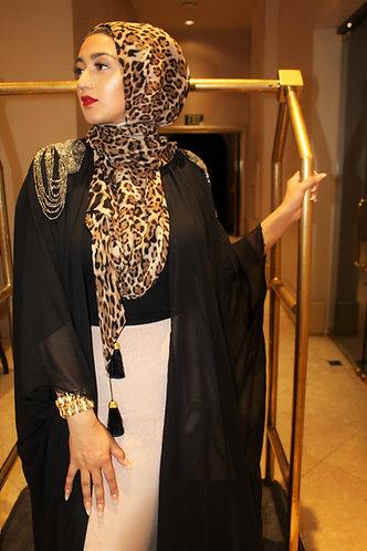 Vintage Leopard Tassel Hijab