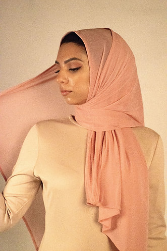 Pink Chainmail Stretchy Hijab