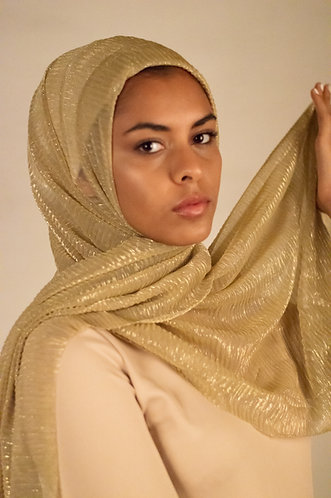 Soft gold Shimmer Pleated Hijab