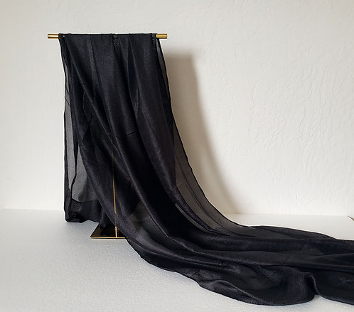 Black Textured Silk Hijab