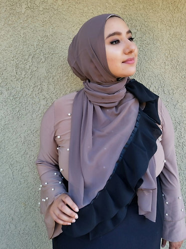 Taupe with black ruffle Georgette Hijab
