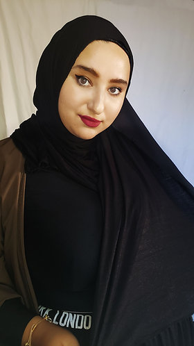 Black silky Jersey hijab