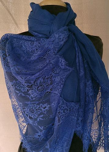 Electric Blue Lace Viscose Hijab