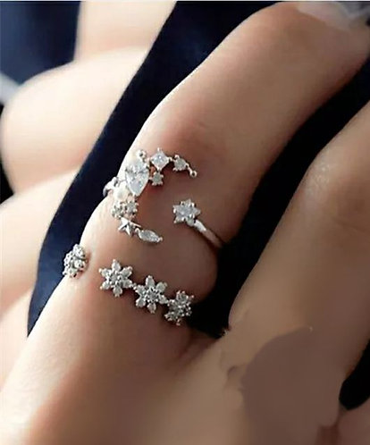 Moon & star Ring +midi ring set