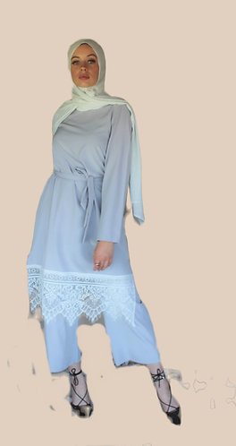 Grey Lace Top and Pants Set