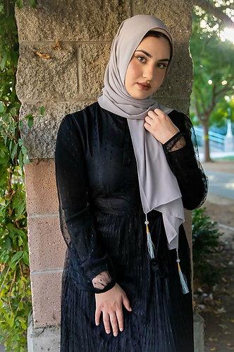 Grey Tassle Georgette Hijab