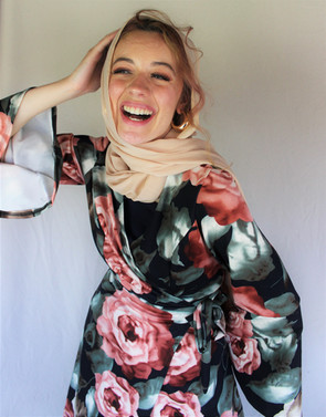 Nude Georgette + Romantic Rose Wrap Dress