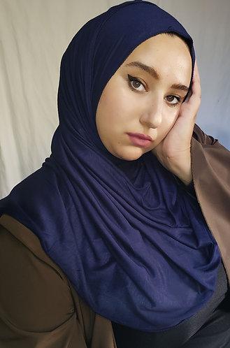 Navy blue silky Jersey hijab