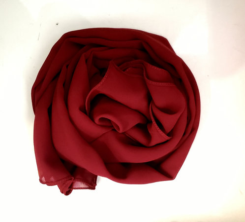 Deep Red Georgette Hijab