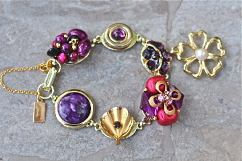 Royal Amethyst - vintage earring bracelet