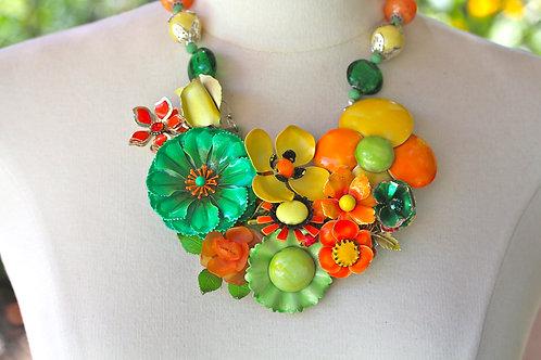 Citrus Blossoms - Vintage Enamel Flower Necklace