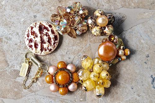 Woodland Garden - a vintage earring bracelet