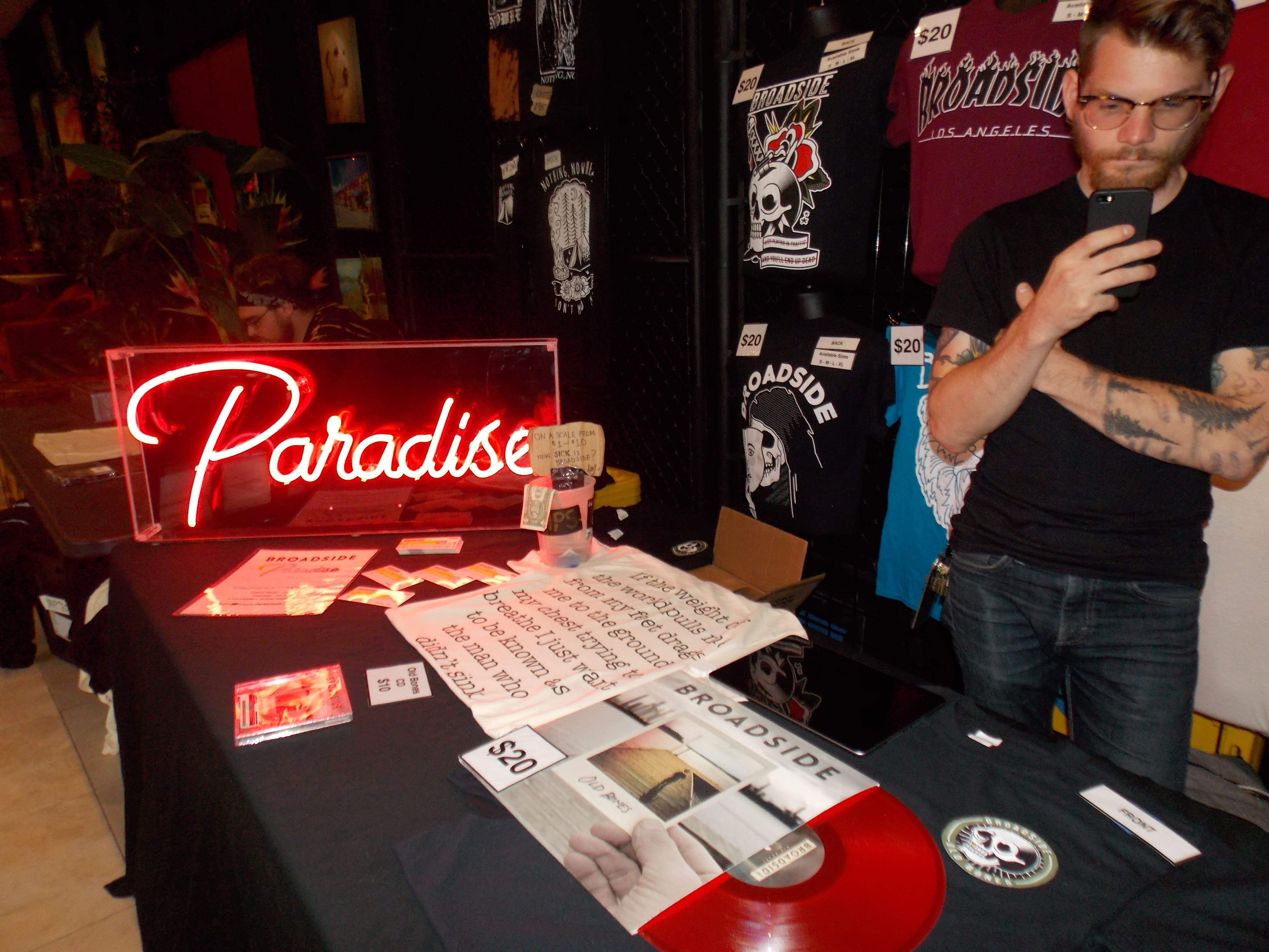 Broadside's merch table