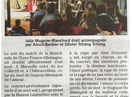 Article du JHM sur le concert de Julia Mugnier-Blanchard