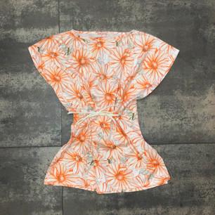 """Copricostume """"Turks & Caicos"""" con coulisse in vita in jersey di cotone, tessuto originale anni '70."""