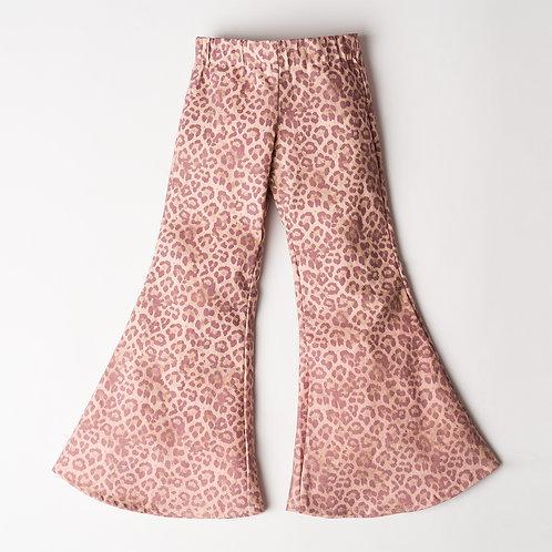 Pantalone Hippie Chic jeans rosa maculato