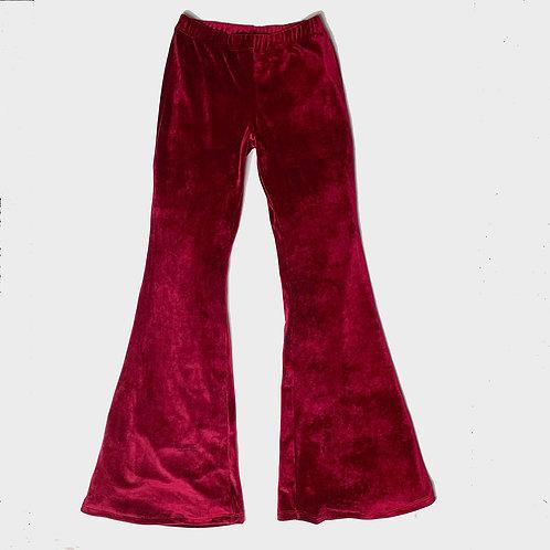 Pantalone Hippie Chic ciniglia bordeaux