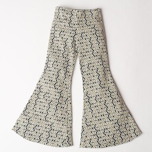 Pantalone Hippie Chic broccato geometrico