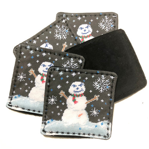 very happy snowman handcrafted coasters