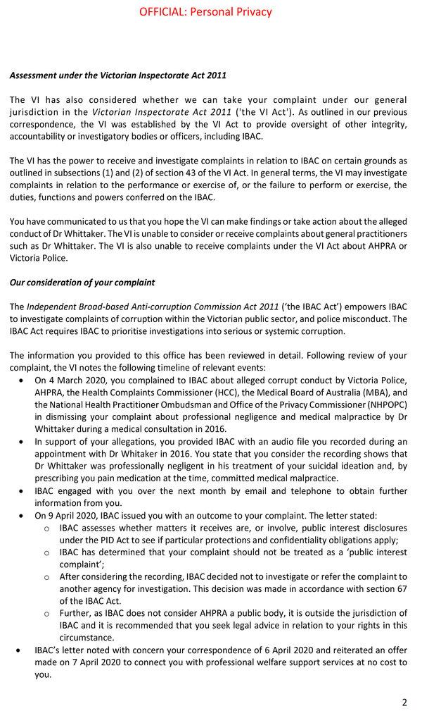 Victorian Inspectorate IBAC 20201207 - 2