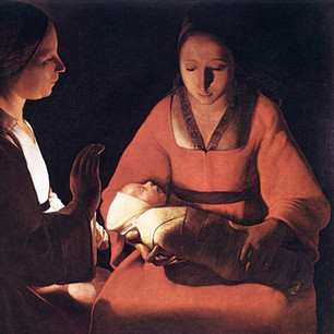 Innocence illuminated in chiaroscuro candlelight by the French Baroque painter.