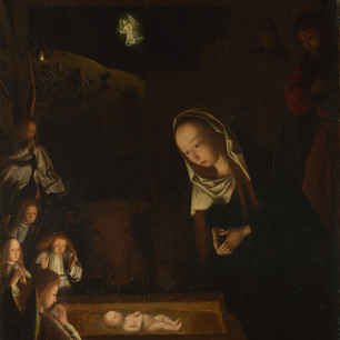 The earliest nocturne. An intimate adoration in radiant light by the Early Netherlandish painter.