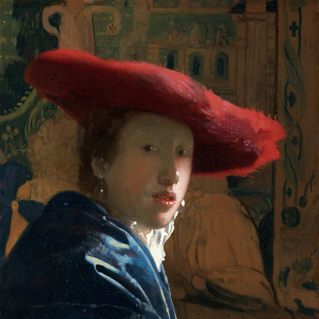 Sumptuously parted lips and a glistening pearl. Dressed for the festivities by the Dutch Golden Age master.