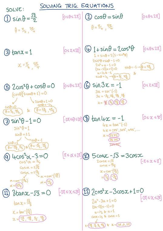 Solving Trig Eqs Worksheet - Solutions.j