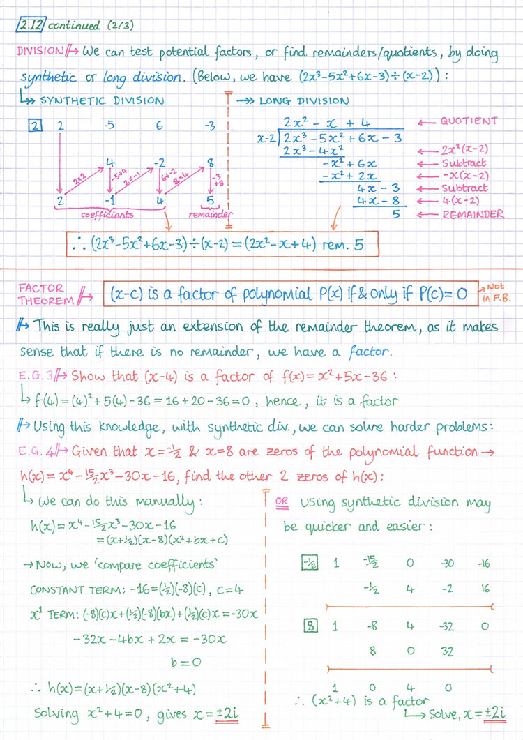 pg14 A&A HL - Topic 2 - Functions Notes.