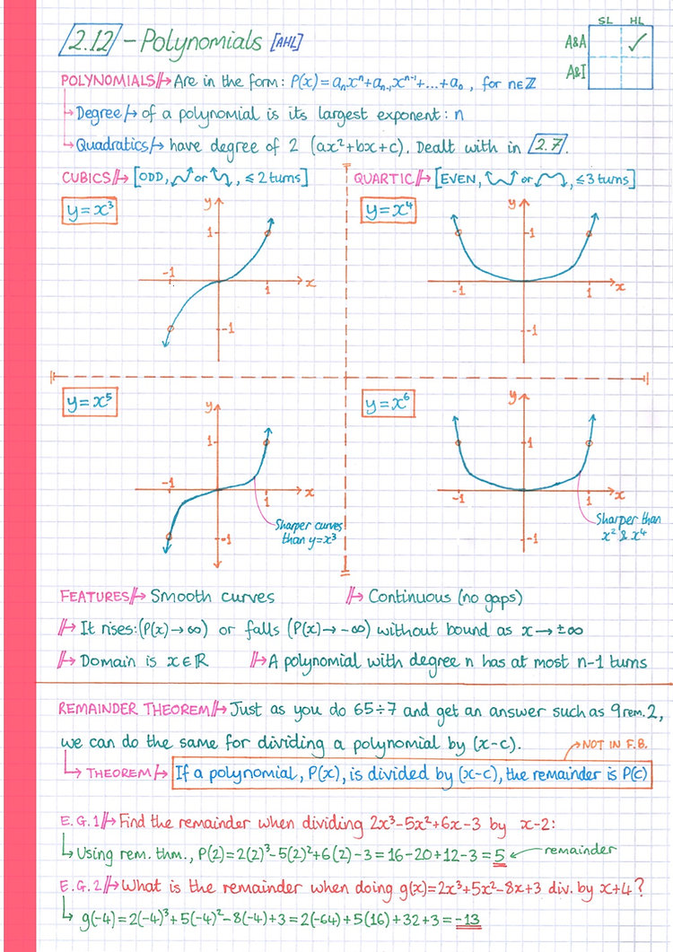 pg13 A&A HL - Topic 2 - Functions Notes.
