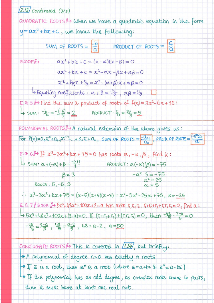 pg15 A&A HL - Topic 2 - Functions Notes.