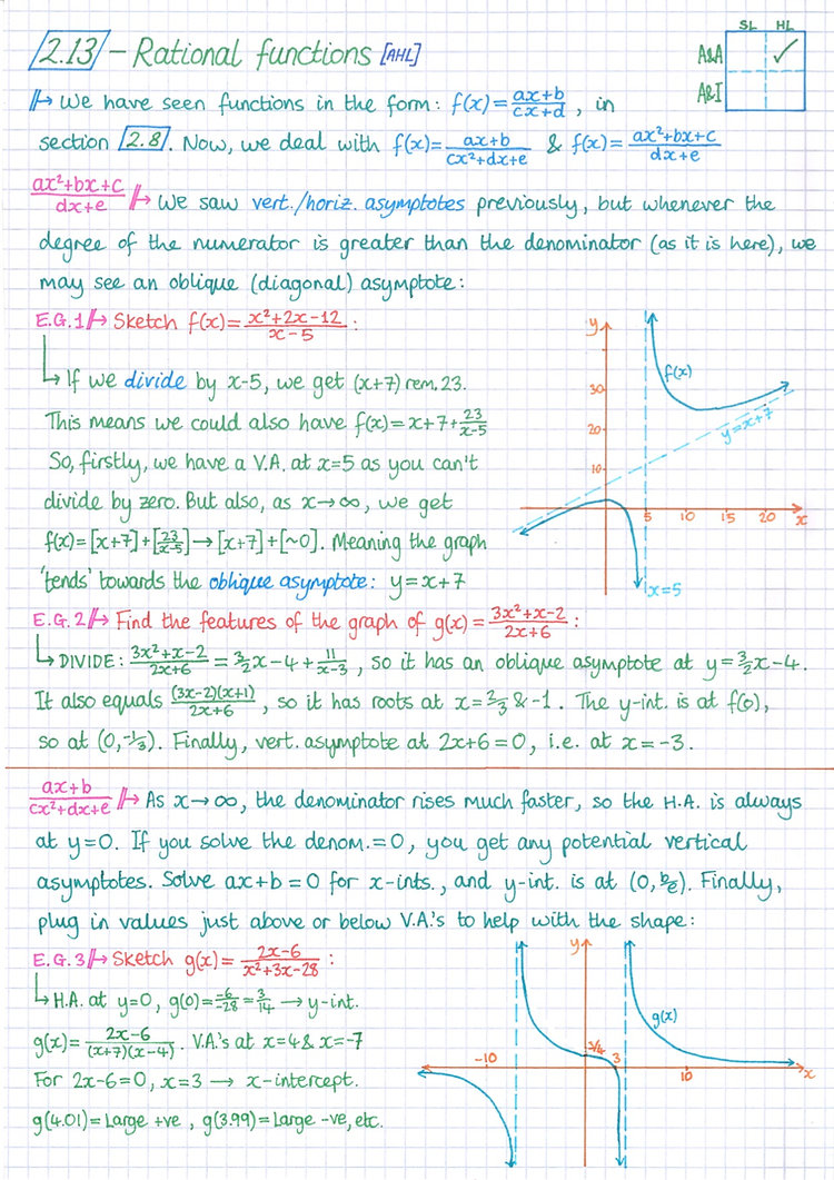 pg16 A&A HL - Topic 2 - Functions Notes.