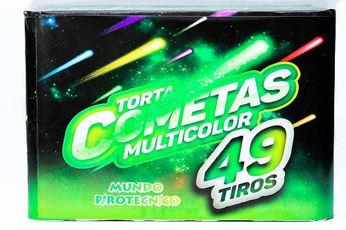 TORTA COMETAS MULTICOLOR - 49 TIROS