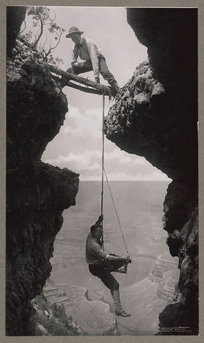 Arizona Grand Canyon photographer suspended on climber's rope 1908 Library of Congress