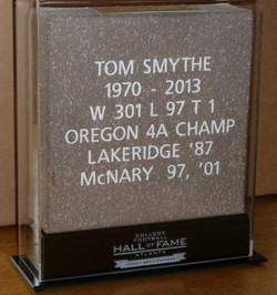 Tom Smythe - Hall Of Fame plaque