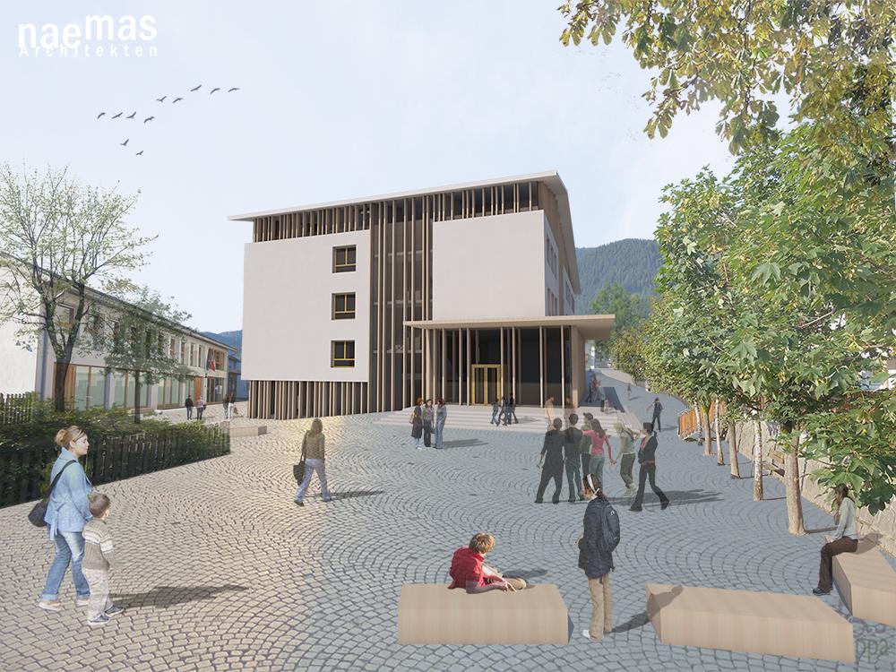 naemas Architekten - WETTBEWERB SCHULE - Sarnthein - Eingang