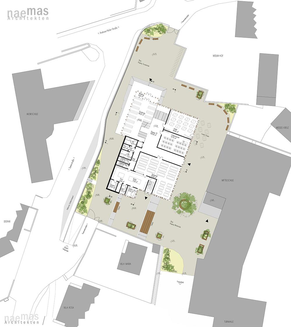 naemas Architekten - WETTBEWERB SCHULE - Sarnthein - Lageplan