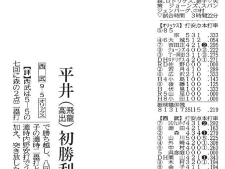 7月3日 新聞掲載 本校卒業生 埼玉西武ライオンズ 平井投手 今季初勝利!!