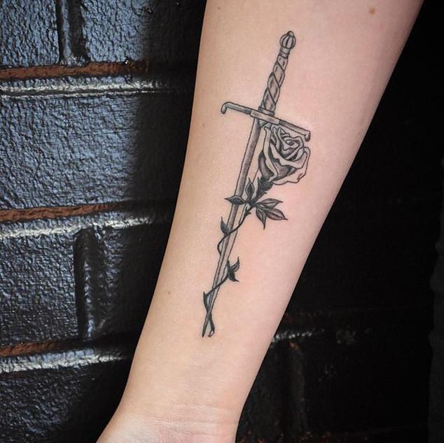 #rose and #dagger #blackwork #tattoo don
