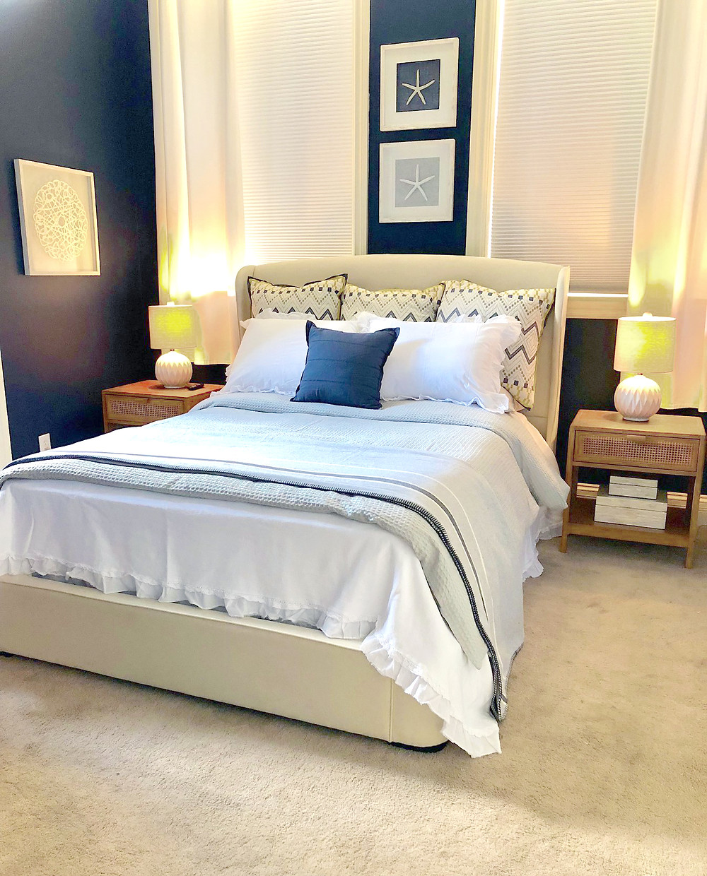 master bedroom styled by Nest Home Staging and Design