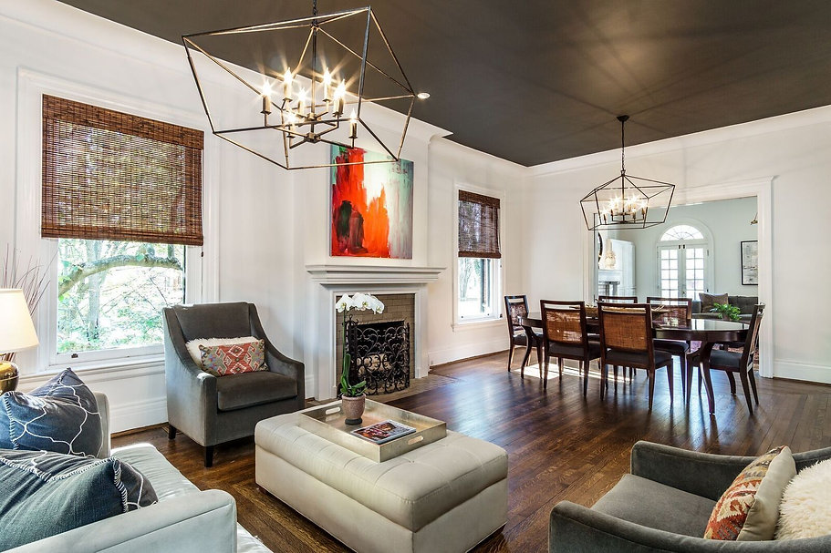 an imae of a staged living room and dining room in Cincinnati, ohio.