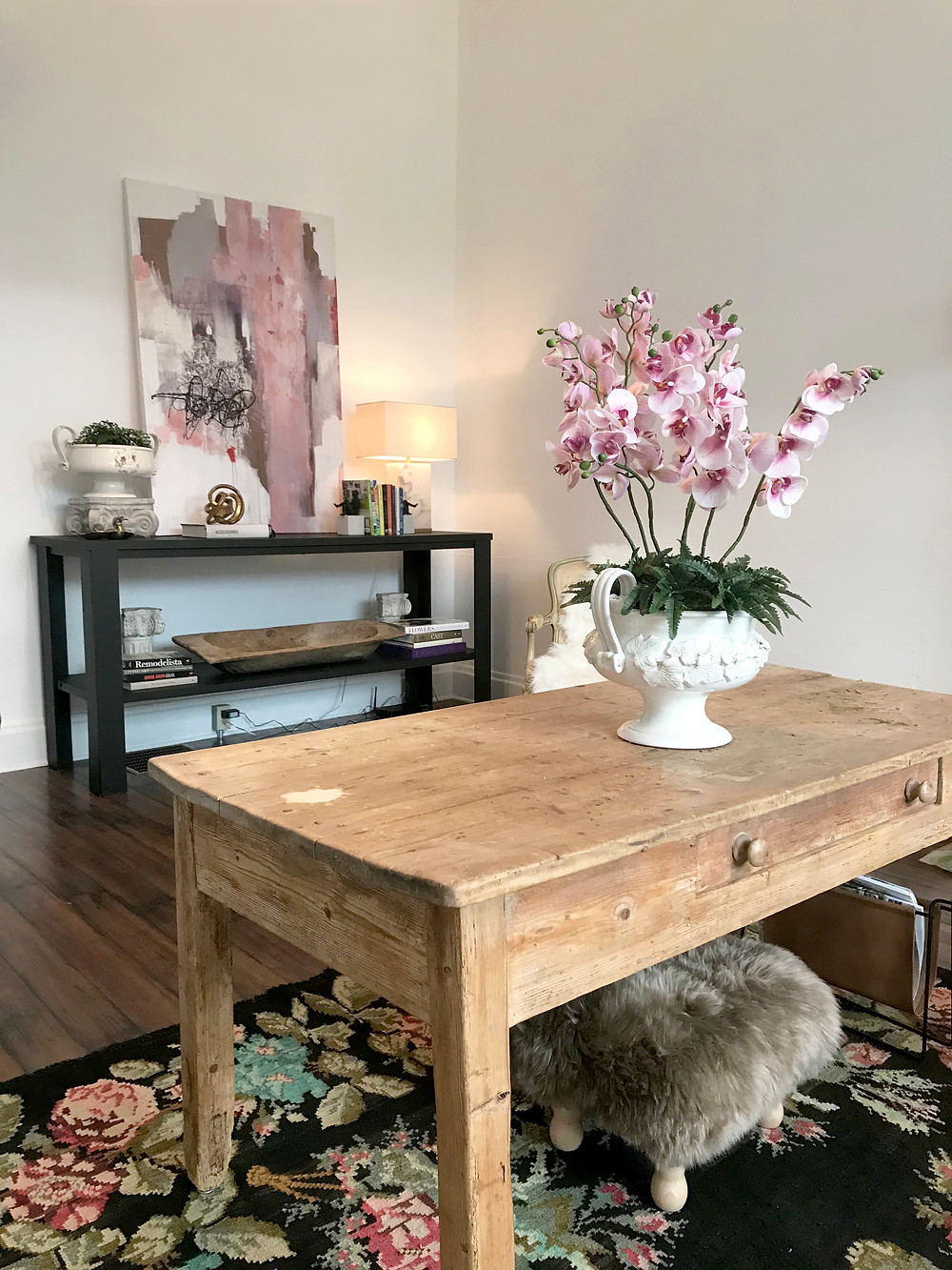 an image of a staged home with a hand-made faux-flower arrangement