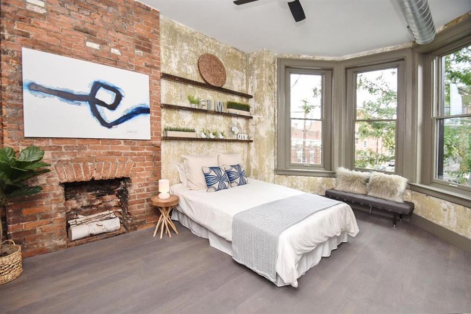 modern rustic bedroom in a loft apartment