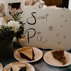Dessert table at lakeside wedding at Lake Darling in Iowa
